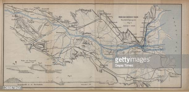 Rheincorrection, Durchstichprojecte, Fig. 1: Map for the correction of the Rhine between Bendern and Bodensee on a scale of 1: 100'000, Fig. 2-3:...