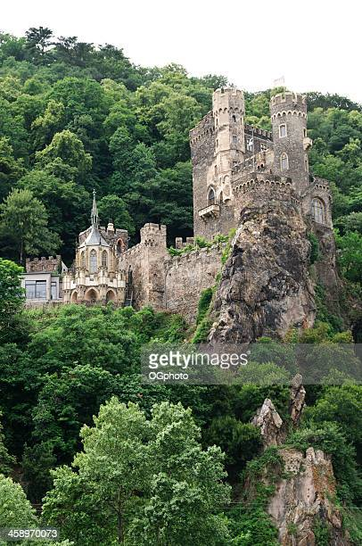rheinstein castle on the rhine river, germany - ogphoto stock pictures, royalty-free photos & images