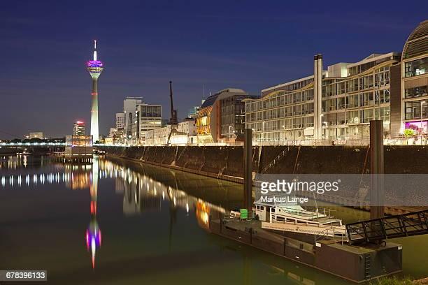 Rheinturm tower at Media Harbour (Medienhafen), Dusseldorf, North Rhine Westphalia, Germany, Europe