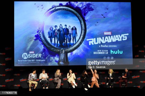 "Rhenzy Feliz, Gregg Sulkin, Virginia Gardner, Allegra Acosta, Ariela Barer and Lyrica Okano speak onstage during the ""Marvel's Runaways"" Panel at New..."