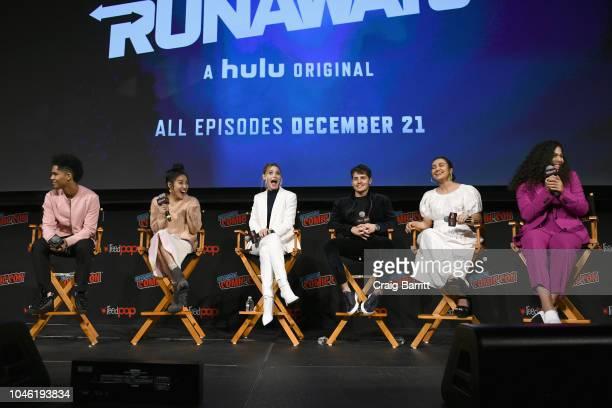 Rhenzy Feliz Lyrica Okano Virginia Gardner Gregg Sulkin Ariela Barer and Allegra Acosta speak onstage at the Marvel's Runaways panel during New York...