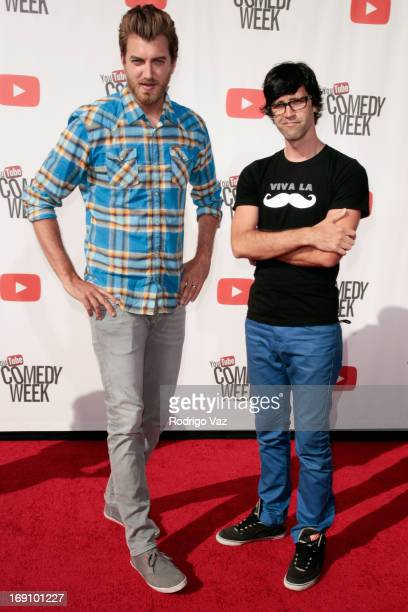 Rhett and Link arrives at the YouTube Comedy Week Presents 'The Big Live Comedy Show' at Culver Studios on May 19 2013 in Culver City California