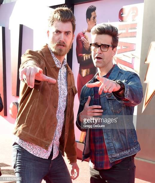 Rhett and Link attend Warner Bros Pictures And New Line Cinema's World Premiere Of SHAZAM at TCL Chinese Theatre on March 28 2019 in Hollywood...