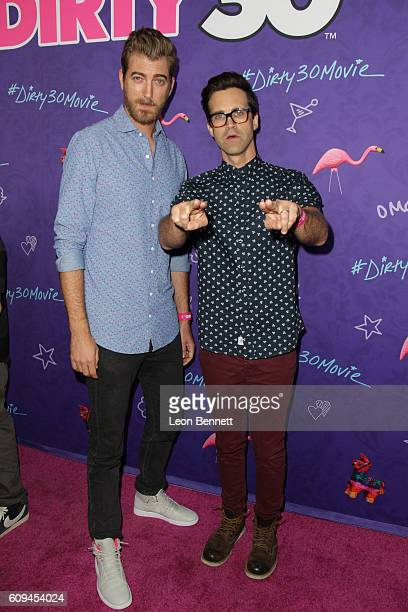 Rhett and Link attends Premiere Of Lionsgate's 'Dirty 30' Arrivals at ArcLight Hollywood on September 20 2016 in Hollywood California