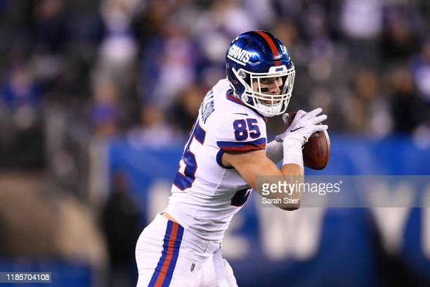Rhett Ellison of the New York Giants carries the ball during second half of the game against the Dallas Cowboys at MetLife Stadium on November 04,...