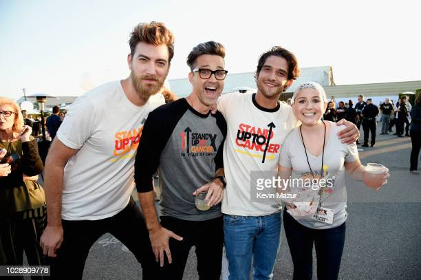 Rhett James McLaughlin and Charles Lincoln Link Neal III of Rhett Link Tyler Posey and SU2C Digital Show Participant Pearce Quesenberry attend the...