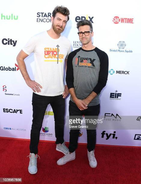 Rhett Link arrives at the Stand Up To Cancer Marks 10 Years Of Impact In Cancer Research At Biennial Telecast at Barker Hangar on September 7 2018 in...