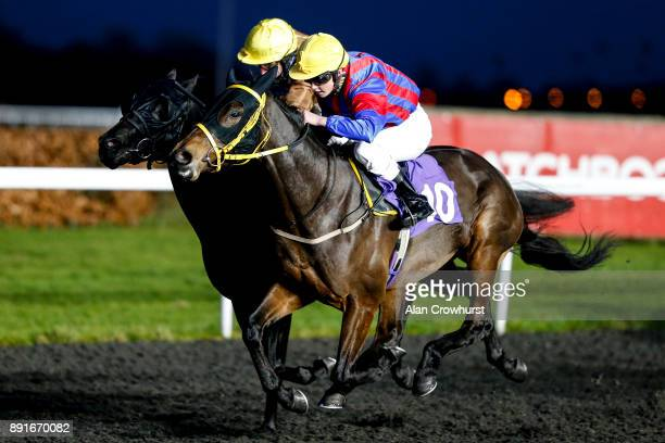 Rhiain Ingram riding Cristal Pallas Cat win The Better Odds With Matchbook Nursery Handicap Stakes at Kempton racecourse on December 13 2017 in...