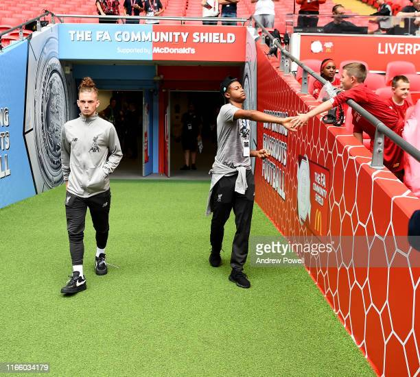 Rhian Brewster and Harvey Elliott of Liverpool before the FA Community Shield match between Liverpool and Manchester City at Wembley Stadium on...