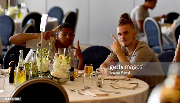 Rhian Brewster and Harvey Elliott of Liverpool behind the scenes on August 01 2019 in EvianlesBains France