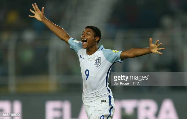 Rhian Brewster of England celebrates scoring his sides 3rd goal during the FIFA U-17 World Cup India 2017 Semi Final match between Brazil and England...