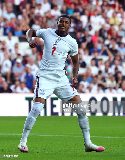 Rhian Brewster of England celebrates scoring his teams first goal during the UEFA Under 21 Qualifier between England and Kosovo at Stadium MK on...