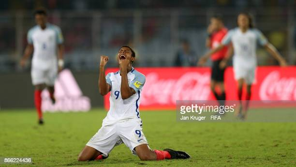 Rhian Brewster of England celebrates victory at the final whistle during the FIFA U17 World Cup India 2017 Semi Final match between Brazil and...