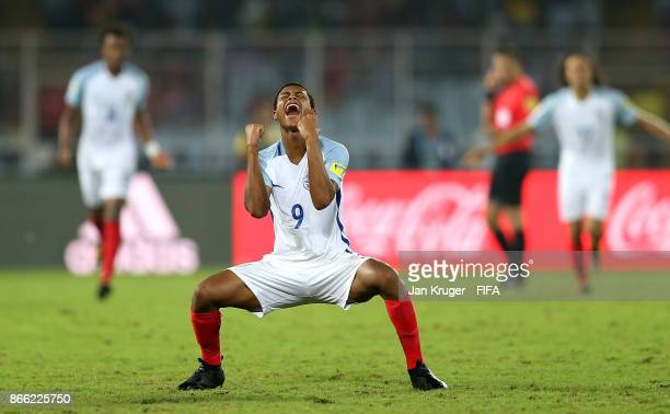 Rhian Brewster of England celebrates victory at the final whistle during the FIFA U-17 World Cup India 2017 Semi Final match between Brazil and...