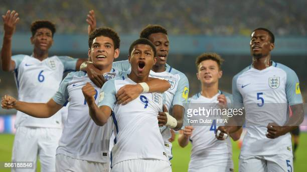 Rhian Brewster of England celebrates with his team scoring the opening goal during the FIFA U-17 World Cup India 2017 Semi Final match between Brazil...