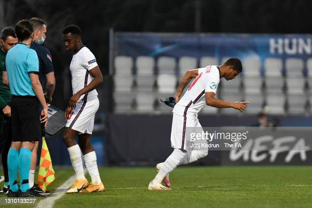 Rhian Brewster of England comes on to replace Eddie Nketiah of England during the 2021 UEFA European Under-21 Championship Group D match between...
