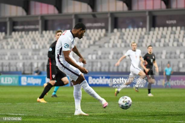 Rhian Brewster of England crosses the ball during the 2021 UEFA European Under-21 Championship Group D match between Croatia and England at Stadion...
