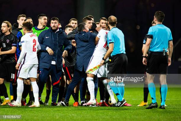 Rhian Brewster of England fighting with players from Croatian team after the 2021 UEFA European Under-21 Championship Group D match between Croatia...