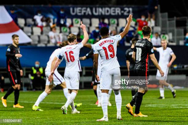 Rhian Brewster of England gestures during the 2021 UEFA European Under-21 Championship Group D match between Croatia and England at Stadion Bonifika...