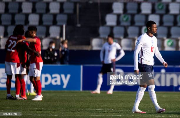 Rhian Brewster of England looks dejected after the 2021 UEFA European Under-21 Championship Group D match between England and Switzerland at Stadion...