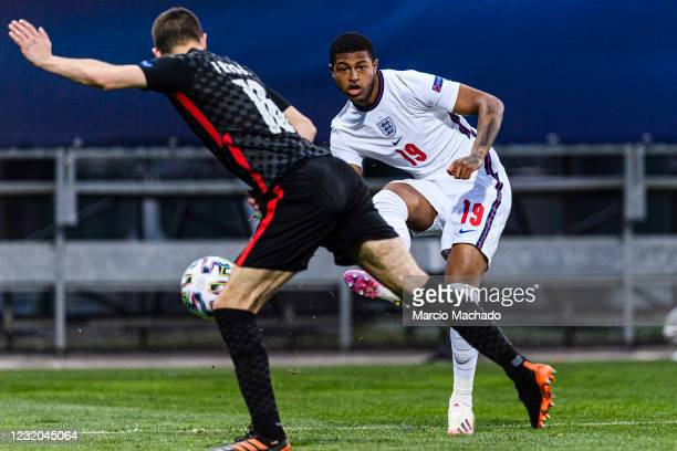 Rhian Brewster of England looks to bring the ball down during the 2021 UEFA European Under-21 Championship Group D match between Croatia and England...