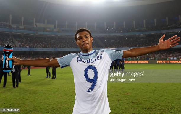Rhian Brewster of England poses after the final whistle during the FIFA U-17 World Cup India 2017 Final match between England and Spain at...