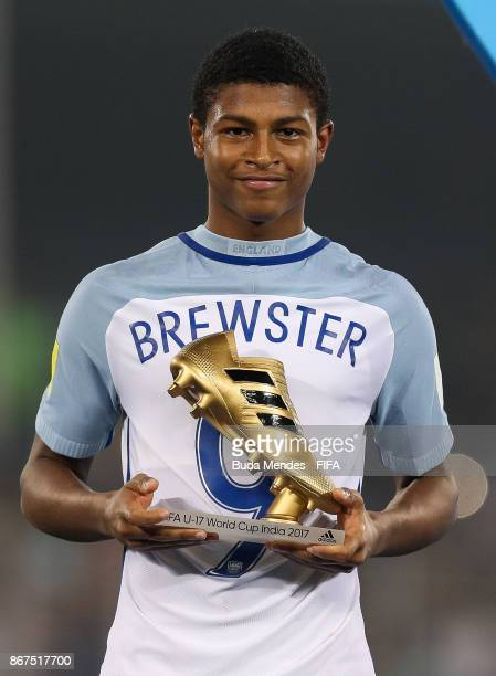 Rhian Brewster of England poses with adidas Golden Booth Award during the FIFA U-17 World Cup India 2017 Final match between England and Spain at...