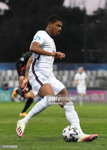 Rhian Brewster of England runs with the ball during the 2021 UEFA European Under-21 Championship Group D match between Croatia and England at Stadion...