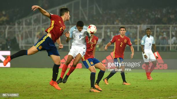 Rhian Brewster of England scores his side's first goal during the FIFA U17 World Cup India 2017 Final match between England and Spain at Vivekananda...