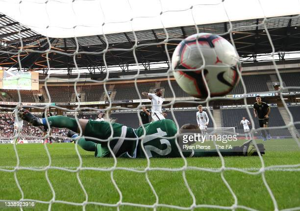 Rhian Brewster of England scores his teams first goal during the UEFA Under 21 Qualifier between England v Kosovo at Stadium MK on September 07, 2021...