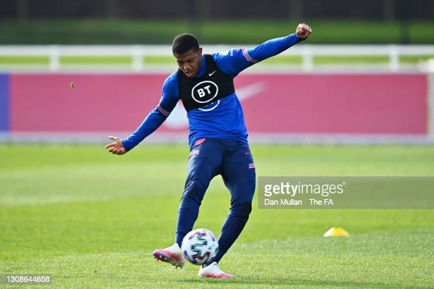 Rhian Brewster of England takes a shot during the England U21 Training Session at St George's Park on March 22, 2021 in Burton upon Trent, England.