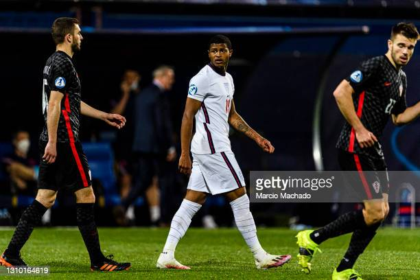 Rhian Brewster of England walks in the field during the 2021 UEFA European Under-21 Championship Group D match between Croatia and England at Stadion...
