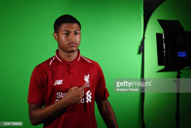 Rhian Brewster of Liverpool after signing a contract extension on July 17 2018 in Liverpool England