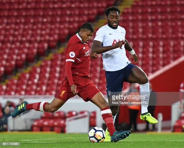 Rhian Brewster of Liverpool and Christian Maghoma of Tottenham Hotspur in action during the Liverpool v Tottenham Hotspur Premier League 2 game at...