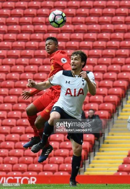 Rhian Brewster of Liverpool and Filip Lesniak of Tottenham Hotspur in action during Premier League 2 match between Liverpool and Tottenham Hotspur at...