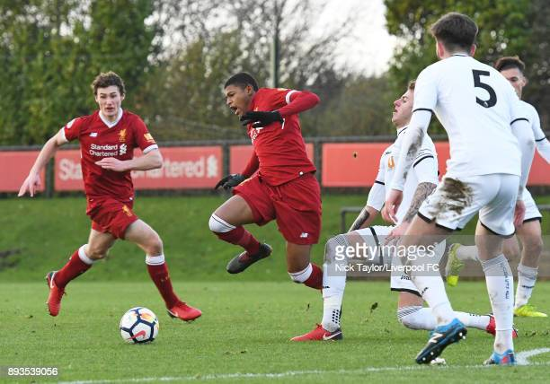 Rhian Brewster of Liverpool and Joe Rodon of Swansea City in action during the Liverpool U23 v Swansea City U23 PL2 game at The Kirkby Academy on...