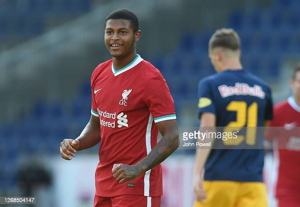 Rhian Brewster of Liverpool celabraters scoring the second goal during the pre-season friendly match between Liverpool and Salzburg at The Red Bull...