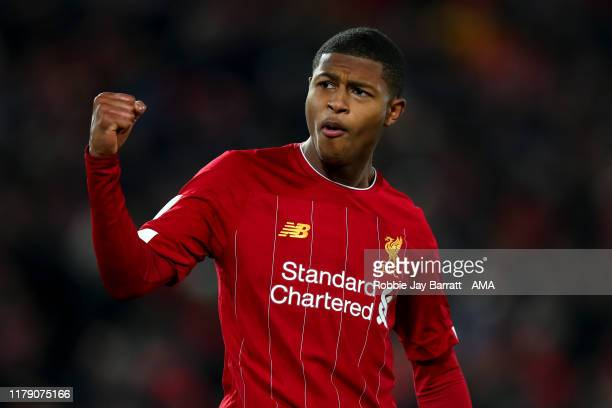 Rhian Brewster of Liverpool celebrates scoring his penalty during the Carabao Cup Round of 16 match between Liverpool and Arsenal at Anfield on...