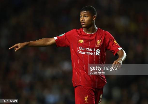 Rhian Brewster of Liverpool gives instructions during the Carabao Cup Third Round match between MK Dons and Liverpool at Stadium mk on September 25,...