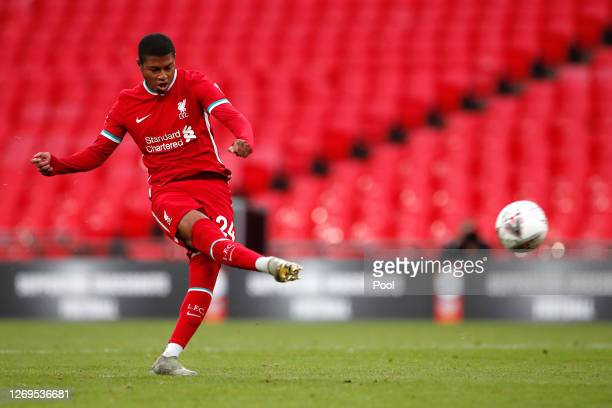Rhian Brewster of Liverpool has his penalty saved in the penalty shootout during the FA Community Shield final between Arsenal and Liverpool at...