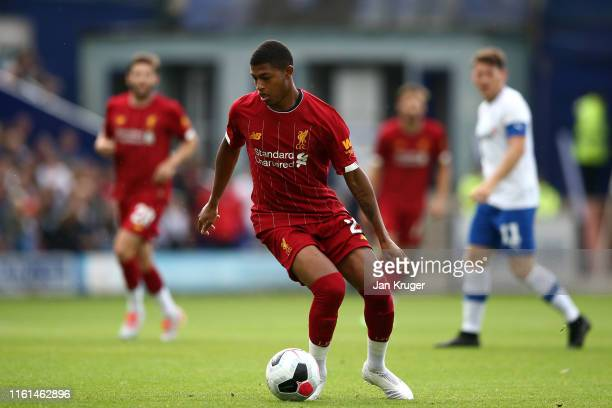Rhian Brewster of Liverpool in action during the Pre-Season Friendly match between Tranmere Rovers and Liverpool at Prenton Park on July 11, 2019 in...