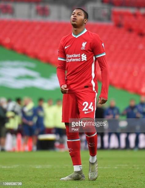 Rhian Brewster of Liverpool looks dejected after having his penalty saved in the penalty shootout during the FA Community Shield final between...