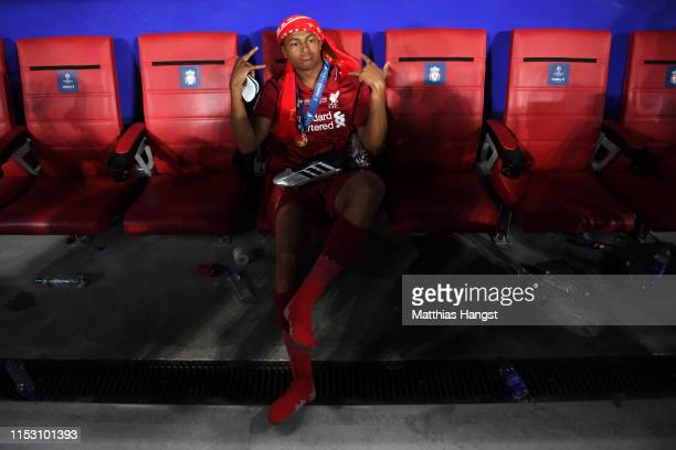 Rhian Brewster of Liverpool poses for a photograph after winning the UEFA Champions League Final between Tottenham Hotspur and Liverpool at Estadio...