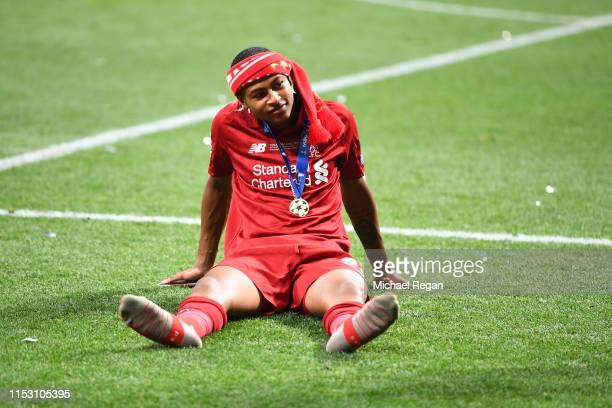 Rhian Brewster of Liverpool reacts after his side won during the UEFA Champions League Final between Tottenham Hotspur and Liverpool at Estadio Wanda...