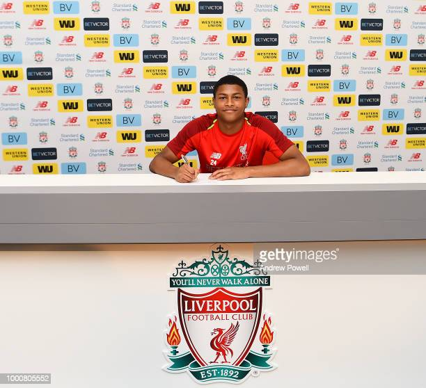 Rhian Brewster of Liverpool signing a contract extension on July 17 2018 in Liverpool England