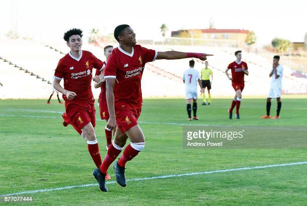 Rhian Brewster of Liverpool U19 celebrates after scoring the thrid during the UEFA Champions League group E match between Sevilla FC U19 and...