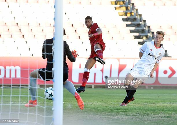 Rhian Brewster of Liverpool U19 scores the thrid during the UEFA Champions League group E match between Sevilla FC U19 and Liverpool FC U19 at...