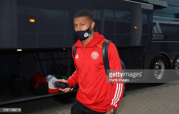 Rhian Brewster of Sheffield United arrives ahead of the Premier League match between Leicester City and Sheffield United at The King Power Stadium on...