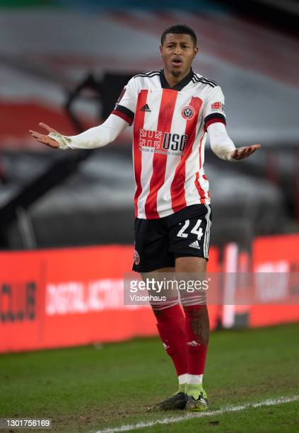 Rhian Brewster of Sheffield United complains to the referees assistant during The Emirates FA Cup Fifth Round match between Sheffield United and...