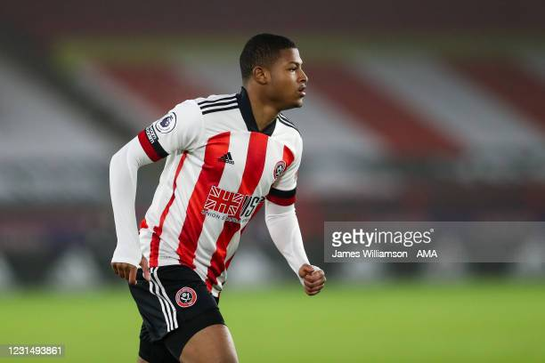 Rhian Brewster of Sheffield United during the Premier League match between Sheffield United and Aston Villa at Bramall Lane on March 3, 2021 in...